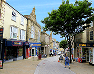 Commercial street and buildings in Redruth